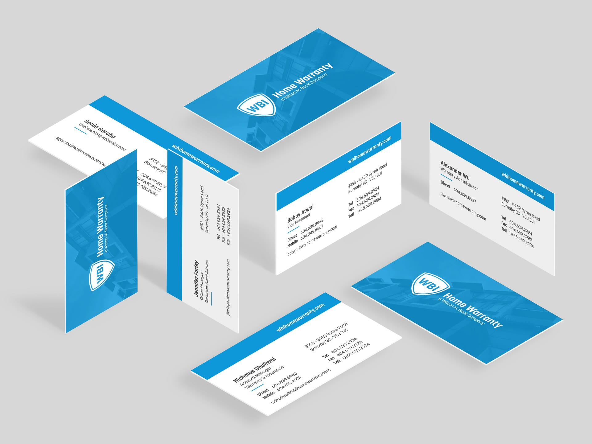 Y5 Creative Case Studies WBI Home Warranty Business Cards 2019